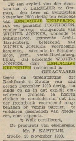 Hendrikje Kerperien ho Posthoorn Prov Overijsselsche en Zwolsche courant 28 11 1930