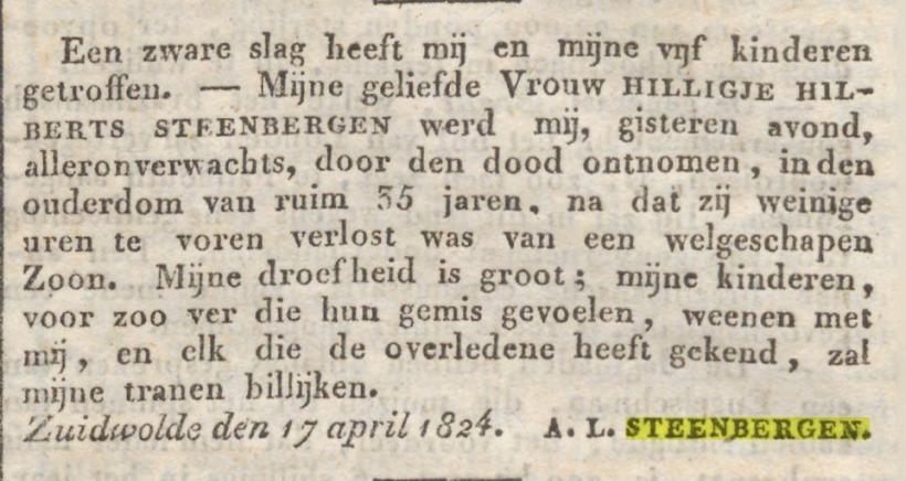 Overlijdensbericht Hilligje Hilberts Steenbergen, Provinciale Drentsche en Asser Courant 23-04-1824