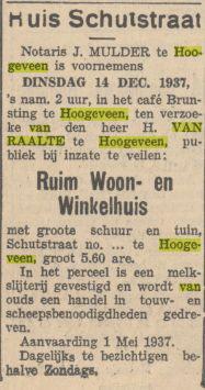 Provinciale Drentsche en Asser courant, 11 december 1937 verkoop woning en winkelhuis