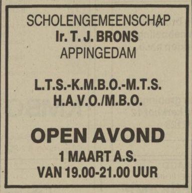 19880213 NvhN Ir T J Brons scholengemeenschap Appingedam