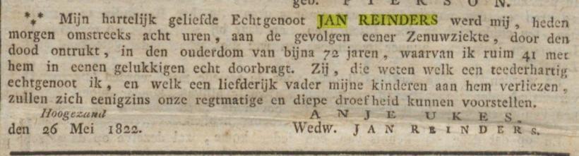 Groninger Courant 18220528 Overlijden Jan Reinders