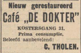 19341213 Nieuwsbl vh Noorden gerestaureerd cafe de dokter Kostersgang 31 C Tholen