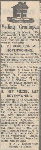 19540306 Nieuwsbl vh Noorden Verkoping woning en cafe Carolieweg 31