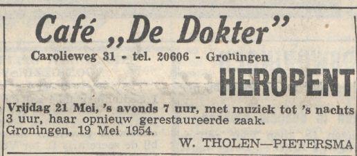 19540519 Nieuwsbl vh Noorden heropent cafe de dokter Carolieweg 31