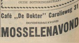 19571218 Nieuwsbl vh Noorden cafe de dokter mosselenavond