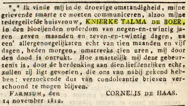 18121120 Journal du département de la Frise overlijden Knierke Talma de Boer