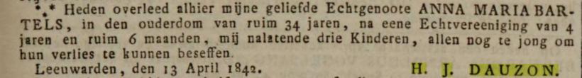 18420422 Leeuwarder courant ovl Anna Maria Bartels