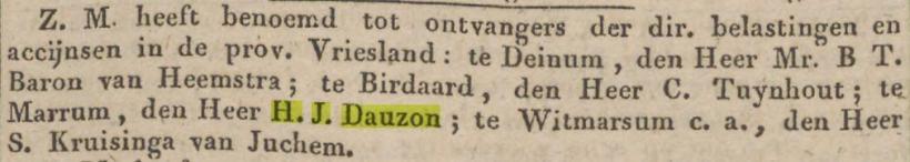 18440229 Algemeen Handelsblad benoeming H J Dauzon