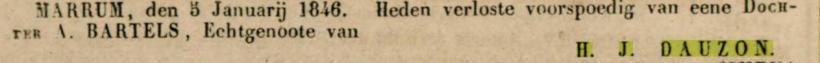 18460109 Leeuwarder courant dochter Dauzon Bartels