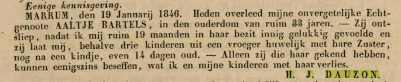 18460130 Leeuwarder courant overleden Aaltje Bartels
