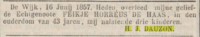 18570618 Provinciale Drentsche en Asser courant overleden Feikje Horreus de Haas