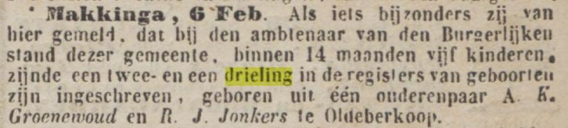 18580209 Provinciale Drentsche en Asser courant tweeling en drieling