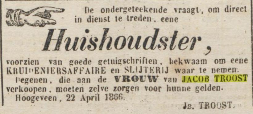 18660426 Provinciale Drentsche en Asser courant 26-04-1866 Huishoudster zelf geld