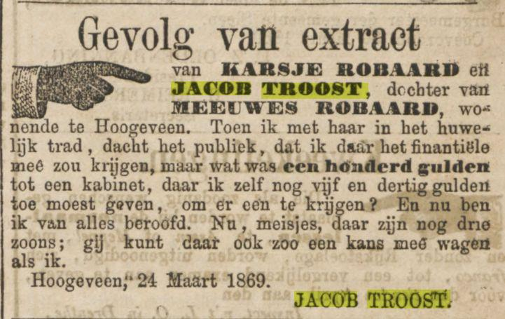 18690601 Provinciale Drentsche en Asser courant 01-06-1869 inz Karsje Robaard en Jacob Troost