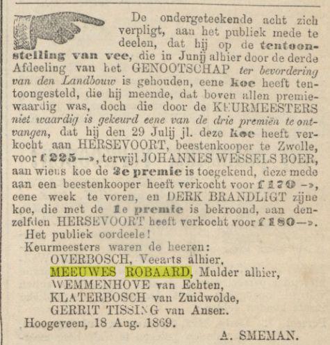 18690821 Provinciale Drentsche en Asser courant 21-08-1869 keurmeesters onvrede