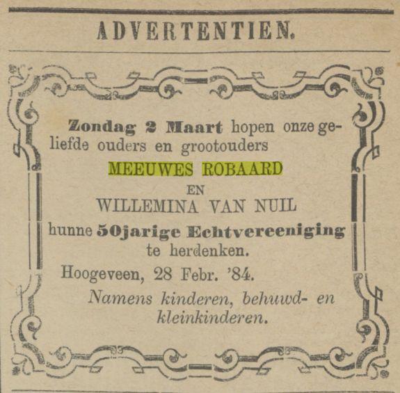 18840229 Provinciale Drentsche en Asser courant 29-02-1884 50 jarig huwelijk Meeuwes en Willemina