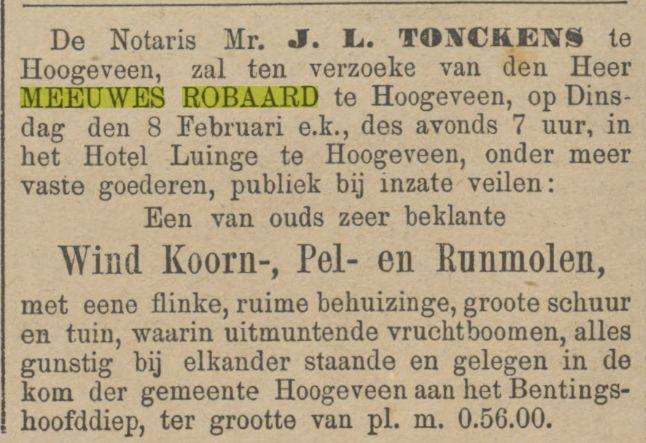 18870131 Provinciale Overijsselsche en Zwolsche courant 31-01-1887 verkoop molen