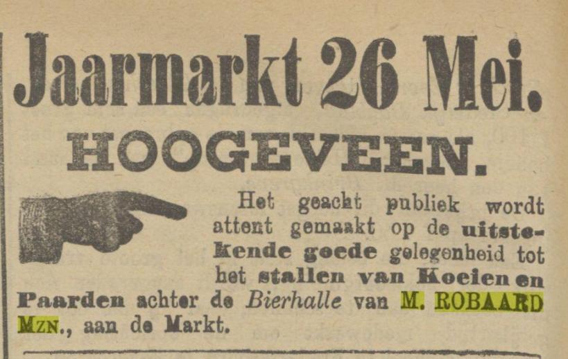 18870524 Provinciale Drentsche en Asser courant Bierhalle M Robaard Mzn
