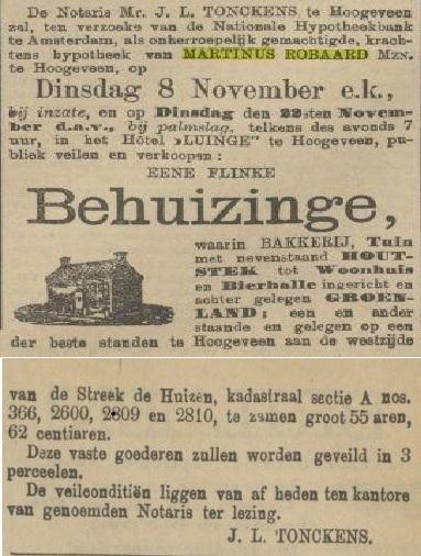 18871107 Provinciale Drentsche en Asser courant verkoop bakkerij Martinus