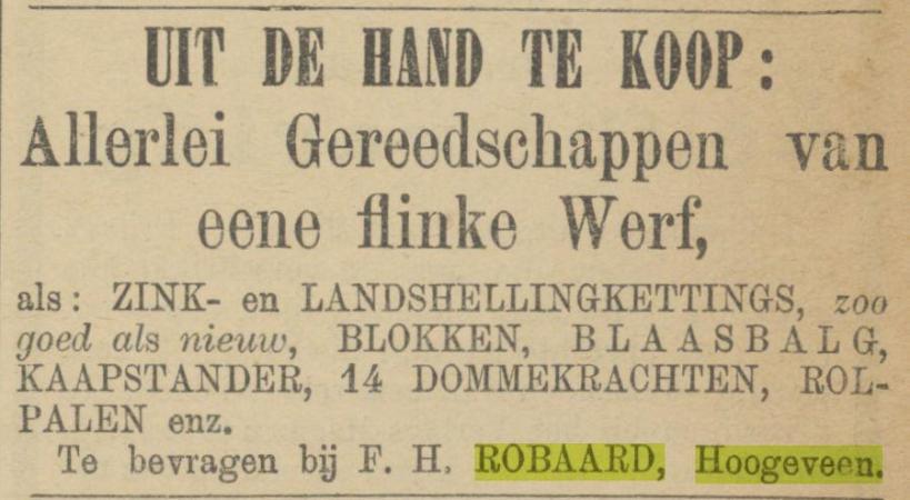 18881105 Provinciale Drentsche en Asser courant verkoop gereedschappen F H Robaard