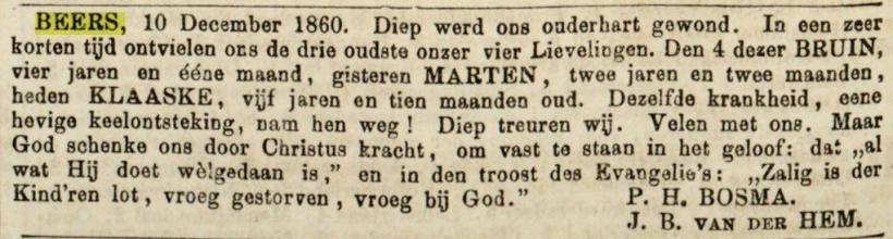 18601214 leeuwarder courant overlijdensbericht 3 kinderen