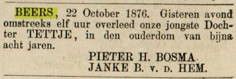 18761027 leeuwarder courant overlijden tettje